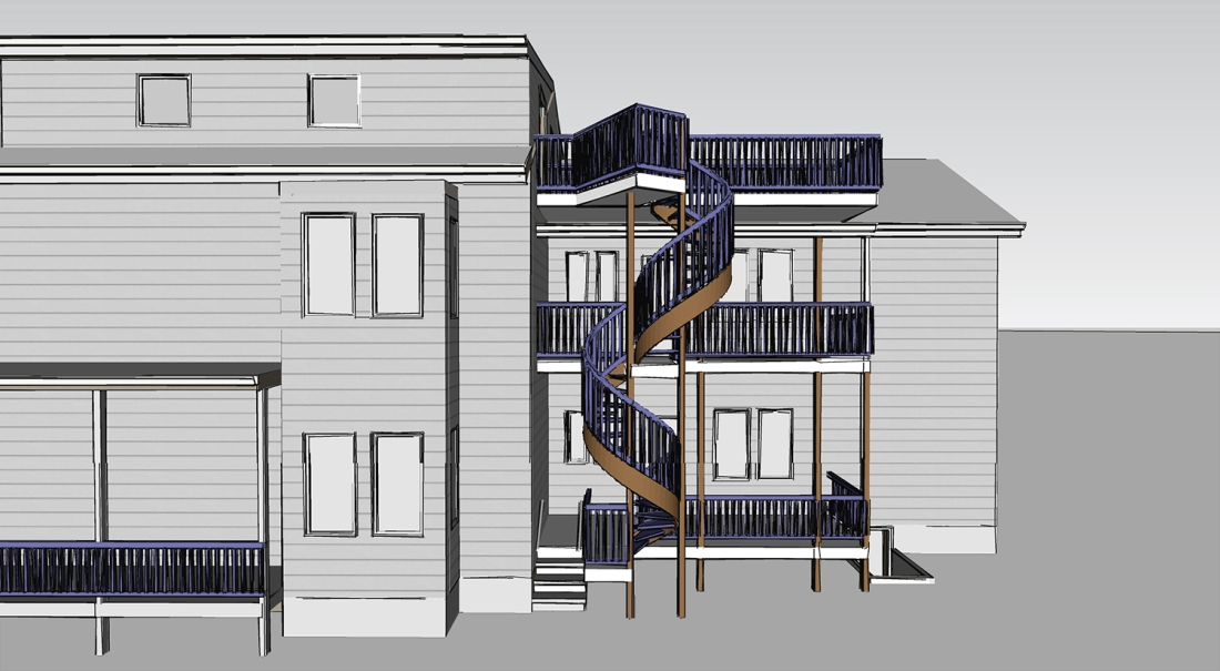 Architecture Bennett Chaney Sketchup 180423 Spiral Stair Elevation 1500