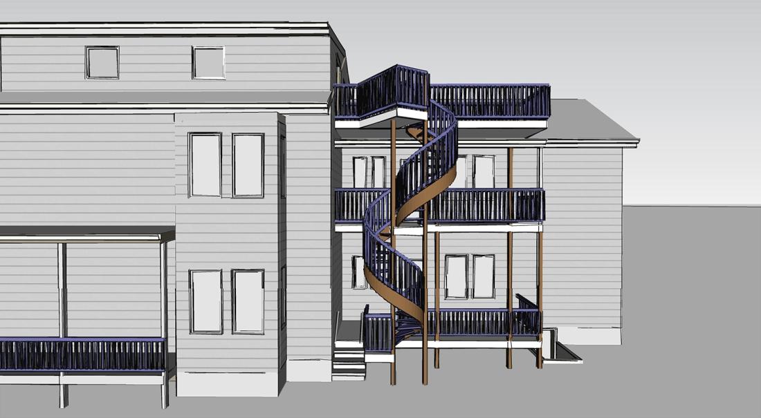 Architecture Bennett Chaney Sketchup 180423 Spiral Stair Elevation 1500